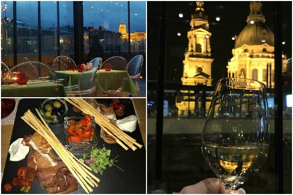 High Note SkyBar in the evening with tapas and wine