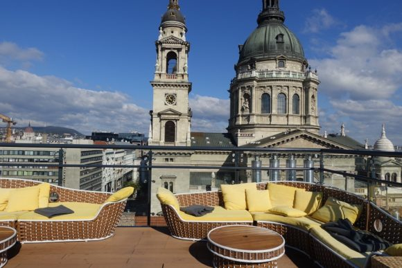 High Note SkyBar rooftop terrace with St. Stephens Basilica in the background
