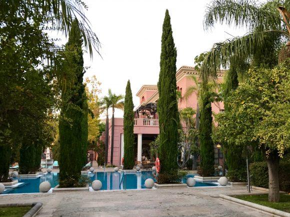 La Pergola Restaurant outdoor seating and pool area - Villa Padierna Palace Hotel