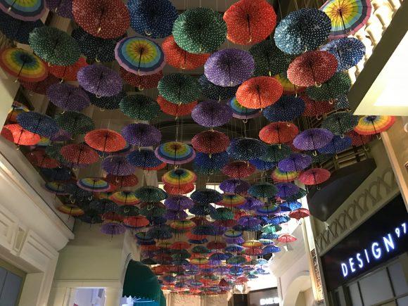 Umbrellas on the ceiling at the Village Dubai Mall, United Arab Emirates