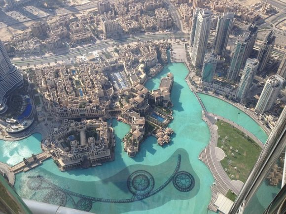 Looking down from the 149th floor of the Burj Khalifa - Dubai