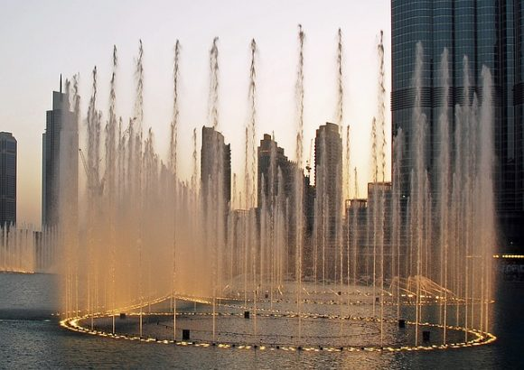 The Fountain Show shooting up water - Dubai