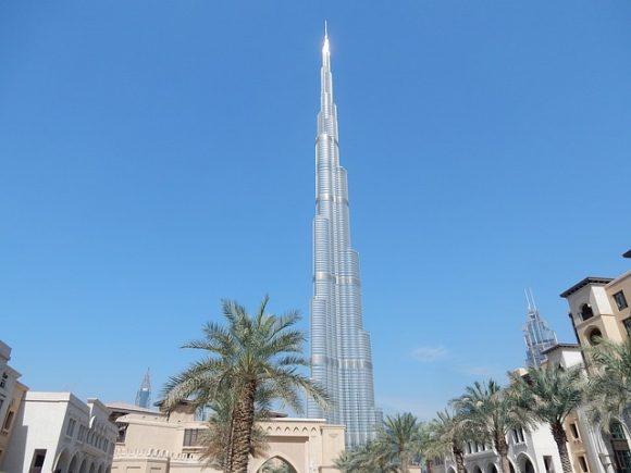 The Burj Khalifa towering in the background