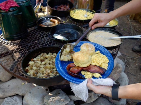 Breakfast served at Smith Fork Ranch, Colorado