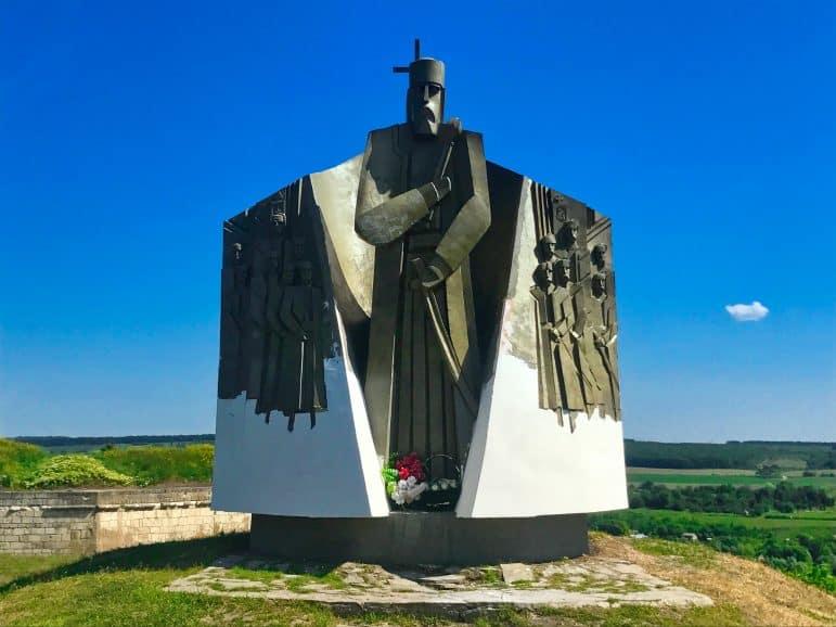 Monument of Hetman Sahaidachny in Khotyn, Ukraine