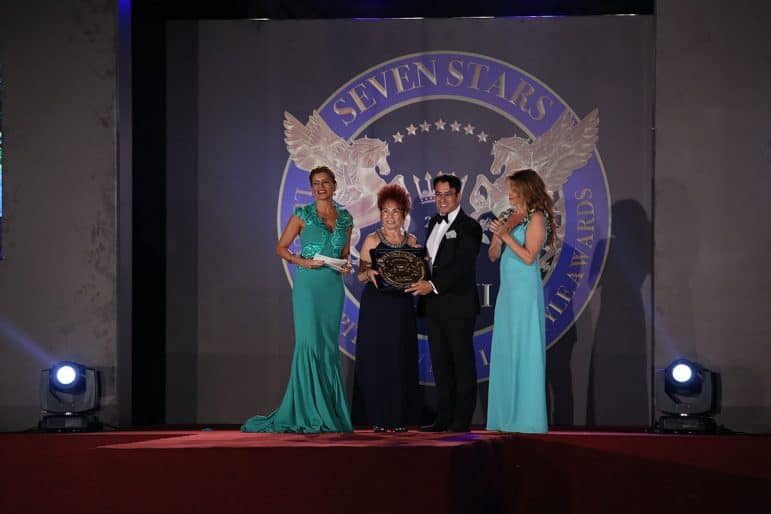 Her Royal Highness Nathalie Princess of Hohenzollern presenting the award to Nir Peretz, the Owner of Hanging Gardens of Bali