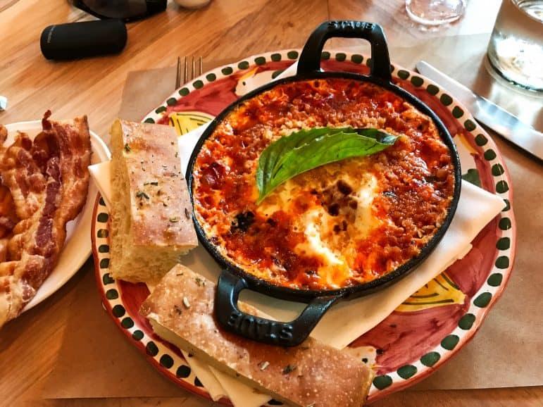 Eggs al Forno, Calabrian Chili, Mozzarella, Grilled Bread at Leuca Restaurant
