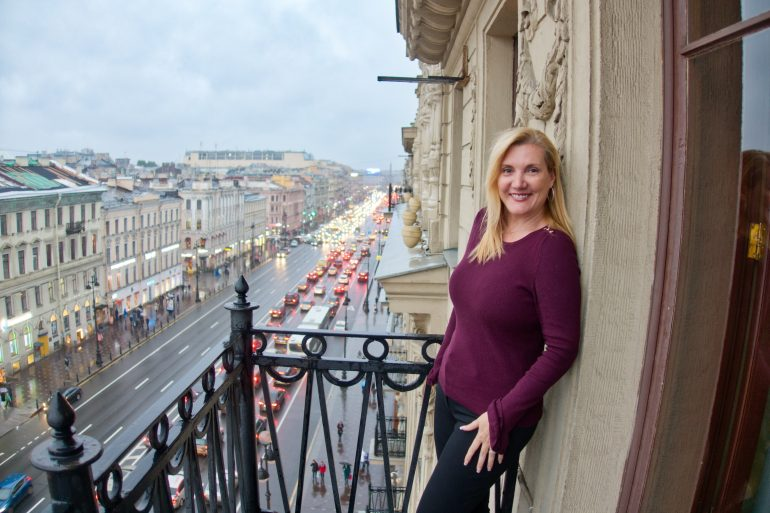 View of Nevsky Prospect from the Corinthia Hotel St Petersburg Presidential Suite private balcony