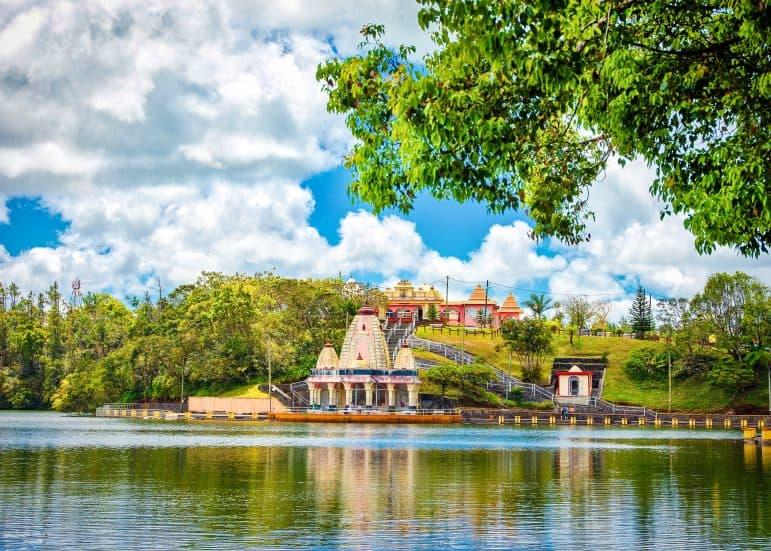 Landscape of Grand Bassin lake - a sacred crater lake, most important hindu landmark in Mauritius island