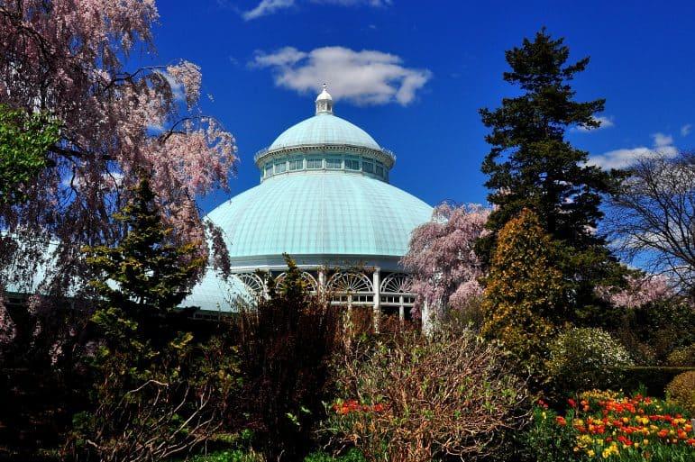 Bronx, New York - April 29, 2015: Enid Haupt Conservatory at the New York Botanical Garden