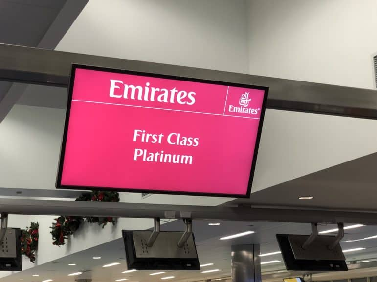Emirates First Class Check in