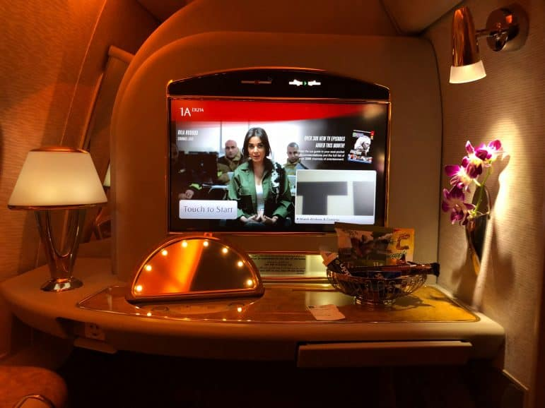 Emirates First Class Suite Television and Vanity Mirror