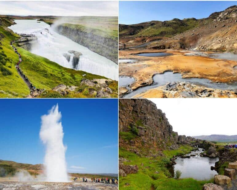 Iceland's Golden Circle - Gullfoss Waterfall, Geysir Hot Springs Area, Almannagja, and the Strokkur
