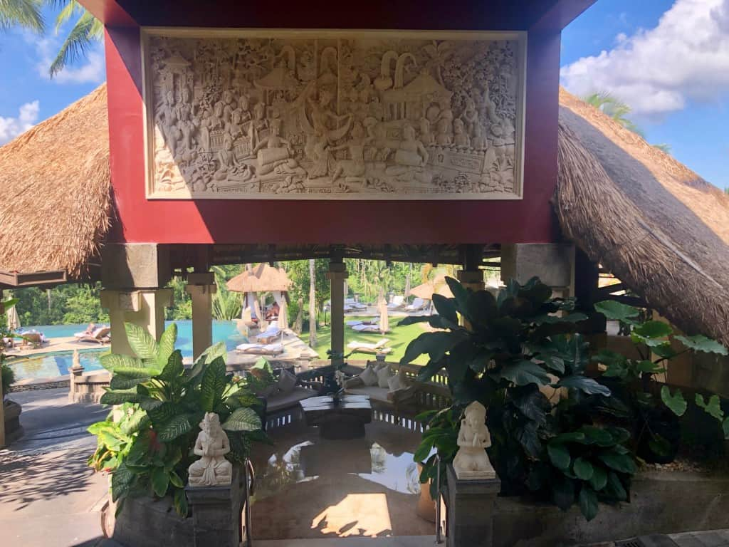 Pool view from reception area at Viceroy Bali Ubud