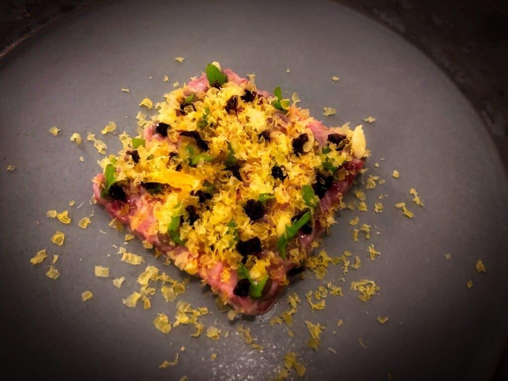Martino (Beef Tartare/ Cured Egg/Cucumber Seeds) - Aperitif Restaurant