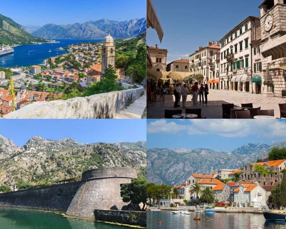 Old Town of Kotor, and aerial view of the city from above