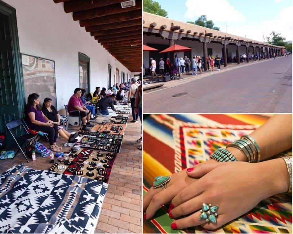 Santa Fe's Plaza where you can buy local Southwestern Jewelry