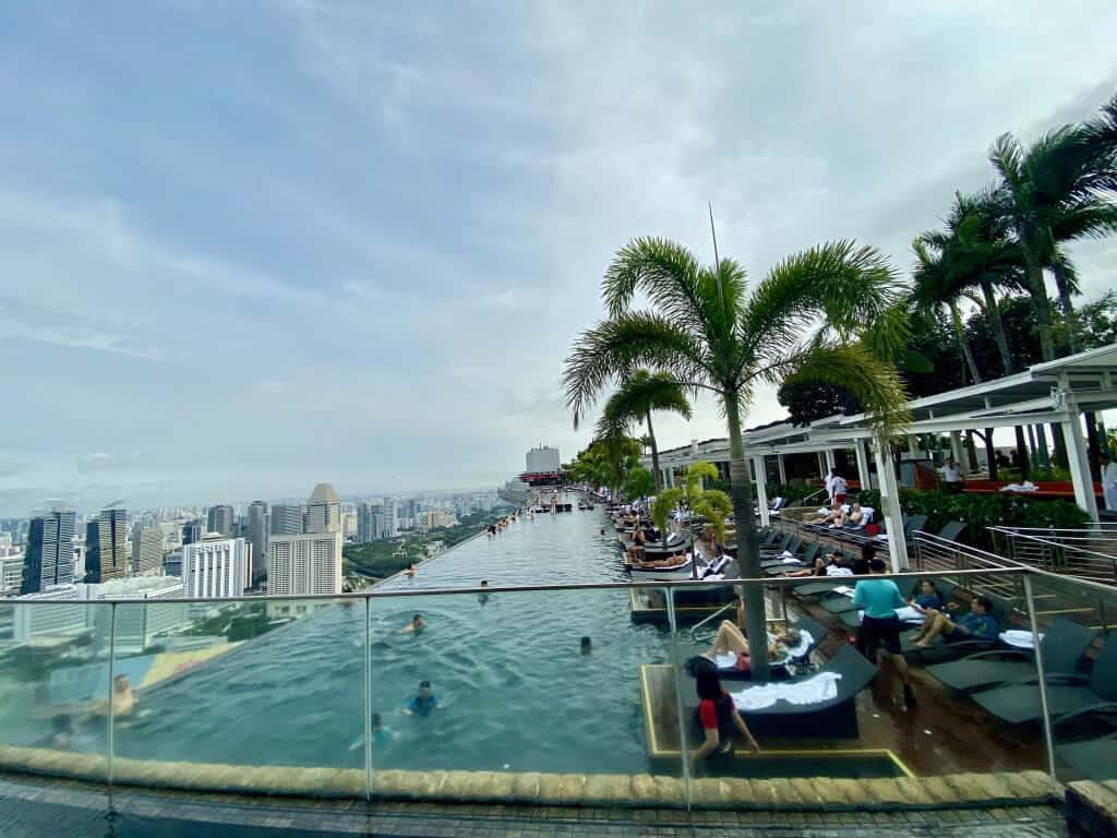 World's largest rooftop Infinity Pool at Marina Bay Sands Hotel Singapore