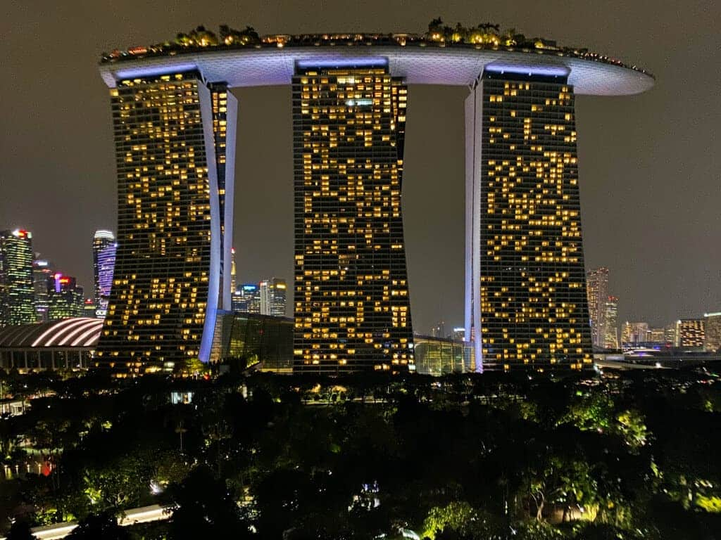 Marina Bay Sands Hotel night view from Gardens by the Bay