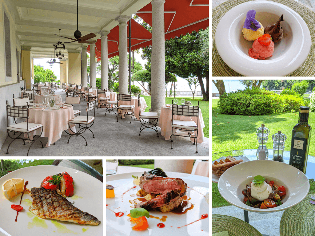 Dishes and views of La Beola Restaurant at Il Portico