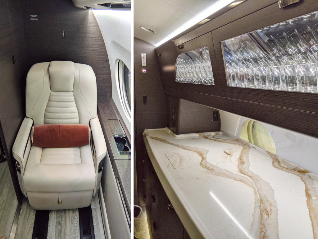 Gulfstream G700 ultra-long galley with huge kitchen counter and cabin crew compartment